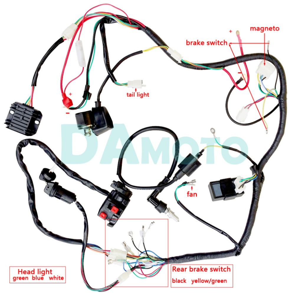 small resolution of quad wiring harness 200 250cc chinese electric start loncin zongshen ducar lifan free shipping in atv parts accessories from automobiles motorcycles on