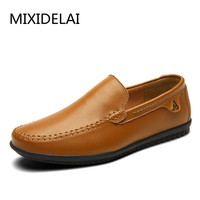 Handmade Cowhide Leather Men Shoes 2018 Fashion Slip On Business Men Casual Shoes Comfort Flats Loafers