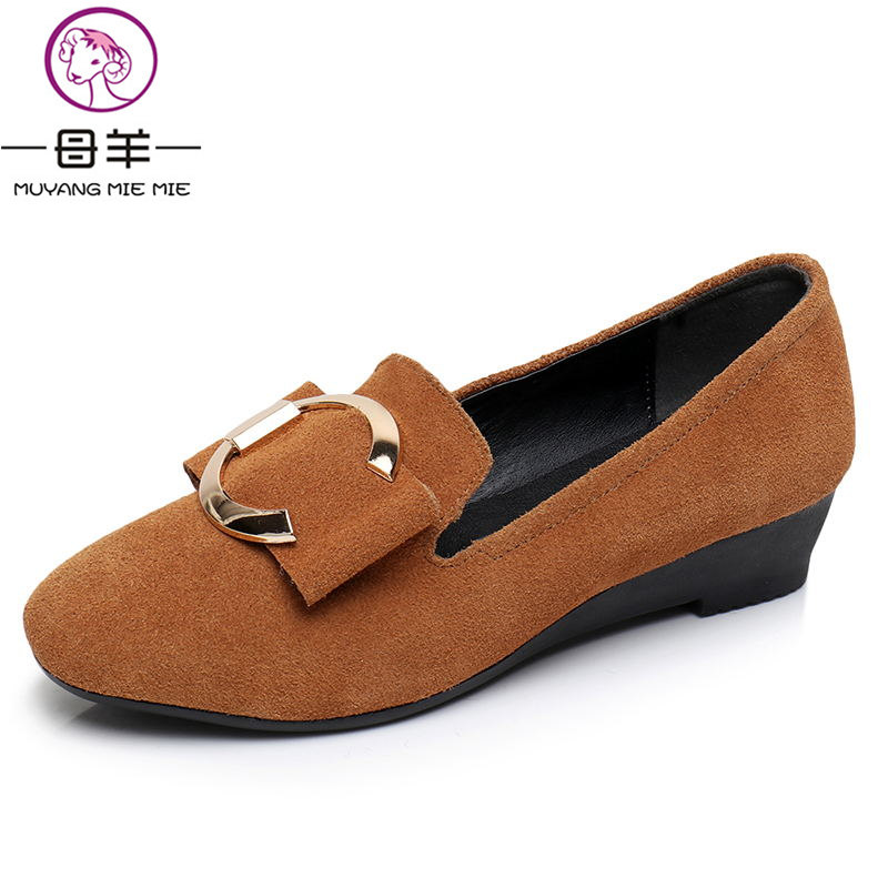 MUYANG MIE MIE High Heels Cow Suede Leather Wedge Shoes Comfortable Women Pumps Women Wedges Shoes Women Shoes парогенератор mie bravissimo напольная вешалка mie a