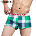 Mens underwear boxer shorts algodón hombres trunks seobean marca 2017 nuevo moda Homewear Gay Mens Hombre hombre nuevo Shorts Hombre Bolsa
