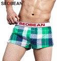 Mens underwear boxer shorts de algodão dos homens seobean troncos marca 2017 novo moda Desgaste Casa Gay Mens Man Man novos Calções Homem Bolsa