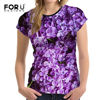 FORUDESIGNS Pretty Women T Shirt Purple Floral Style Summer Tops Tees Funny 3D Femme Short Sleeve
