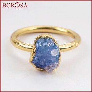 Image 5 - BOROSA Elegant Gemischte Farben Gold Farbe Freeform Regenbogen Druzy Ringe für Frauen, mode Drusy Schmuck Partei Ringe als Geschenk G1450
