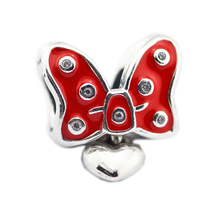 ФОТО authentic s925 sterling silver jewelry minie pave bow charm jewelry pendant multi-colored, fits diy bracelet pendant