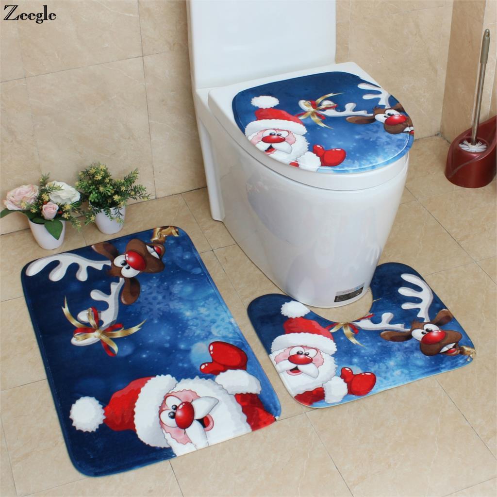 Us 11 26 44 Off Zeegle Bath Mats Bathroom Christmas Decor Bathroom Carpet Absorbent Toilet Mat Bath Rugs Non Slip Shower Mats Bathroom Rug Set In