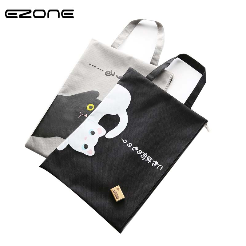 EZONE 1PC A4 Document Bag Cat Folder Bag Kawaii Larger Simple Oxford Cloth High Quality Documents Folder Supplies Stationery