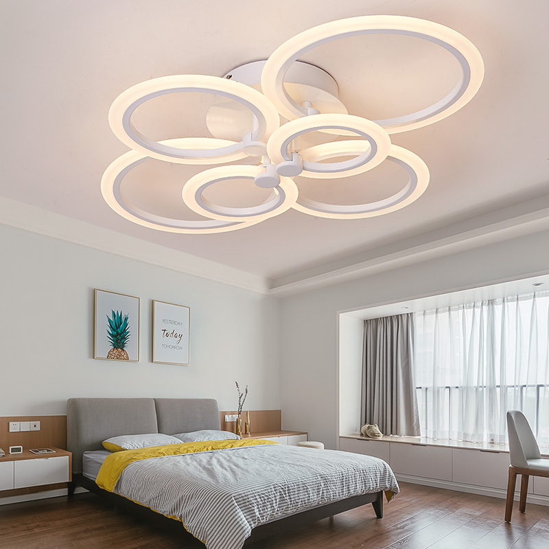 Nordic Art Deco Acrylic Ring Circle Bedroom Ledlamp Modern Led Chandelier Lighting Bed Dining Room Ceiling