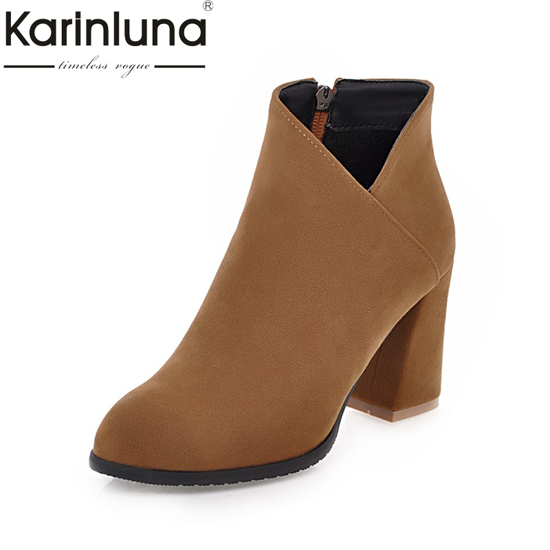 KARINLUNA 2017 Large Sizes 34-45 Women Shoes Woman Flock black Fashion High Heels Chelsea Boots Ankle Boots Woman morazora fashion punk shoes woman tassel flock zipper thin heels shoes ankle boots for women large size boots 34 43