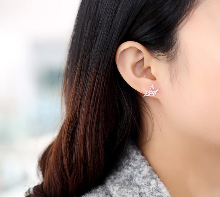 New Lovely Wild Origami Crane Stud Ears for Women Graceful Pendientes Birds Earrings ear piercing machine