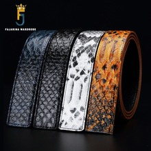 Buy FAJARINA High Quality Pure Genuine Leather Snake Skin Pattern Men Cowhide Smooth Slide Style 3.3cm Belts without Buckle LUBT04