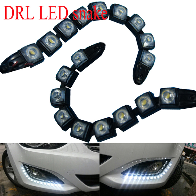 2pcs*9LED Automotive LED lights DRL waterproof high power conversion Snake ultra bright DRL daytime running lights