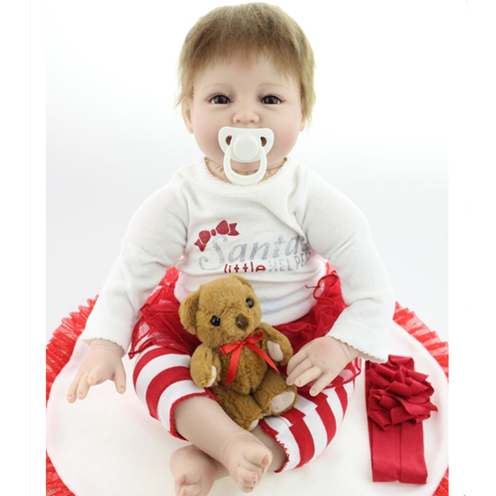 New Silicone Reborn Dolls with Clothes, Cute 20 Inch Lifelike Baby Reborn Doll Toys for Children's Christmas Gift short curl hair lifelike reborn toddler dolls with 20inch baby doll clothes hot welcome lifelike baby dolls for children as gift