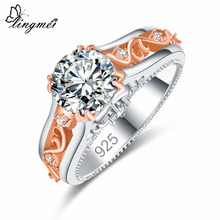 Lingmei Wholesale Fashion Engagement Round Cut Multicolor & White Cubic Zircon Silver Gold Color Women Wedding Ring Size 6789