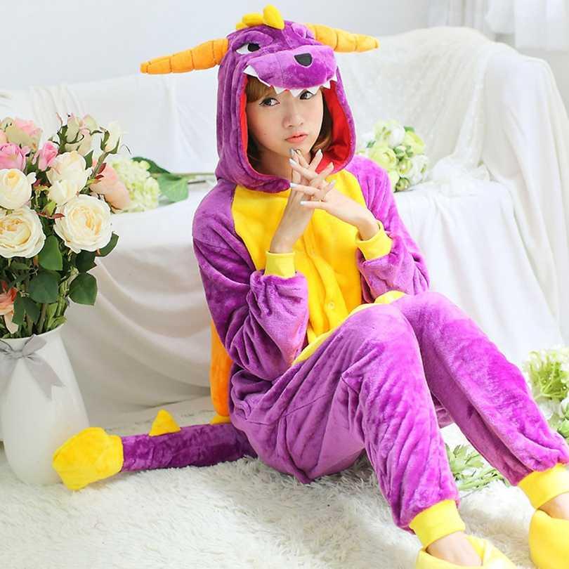 Animais Kigurumi Dragão Roxo Adulto Traje de Dinossauro crianças Onesie Flanela Mulheres Anime Macacão Onepiece Terno Disfarce do Dia Das Bruxas