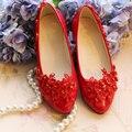 Granos cristalinos hechos a mano zapatos de boda rojo blanco rhinestone talón plano de boda de la novia de encaje bordado zapatos de novia