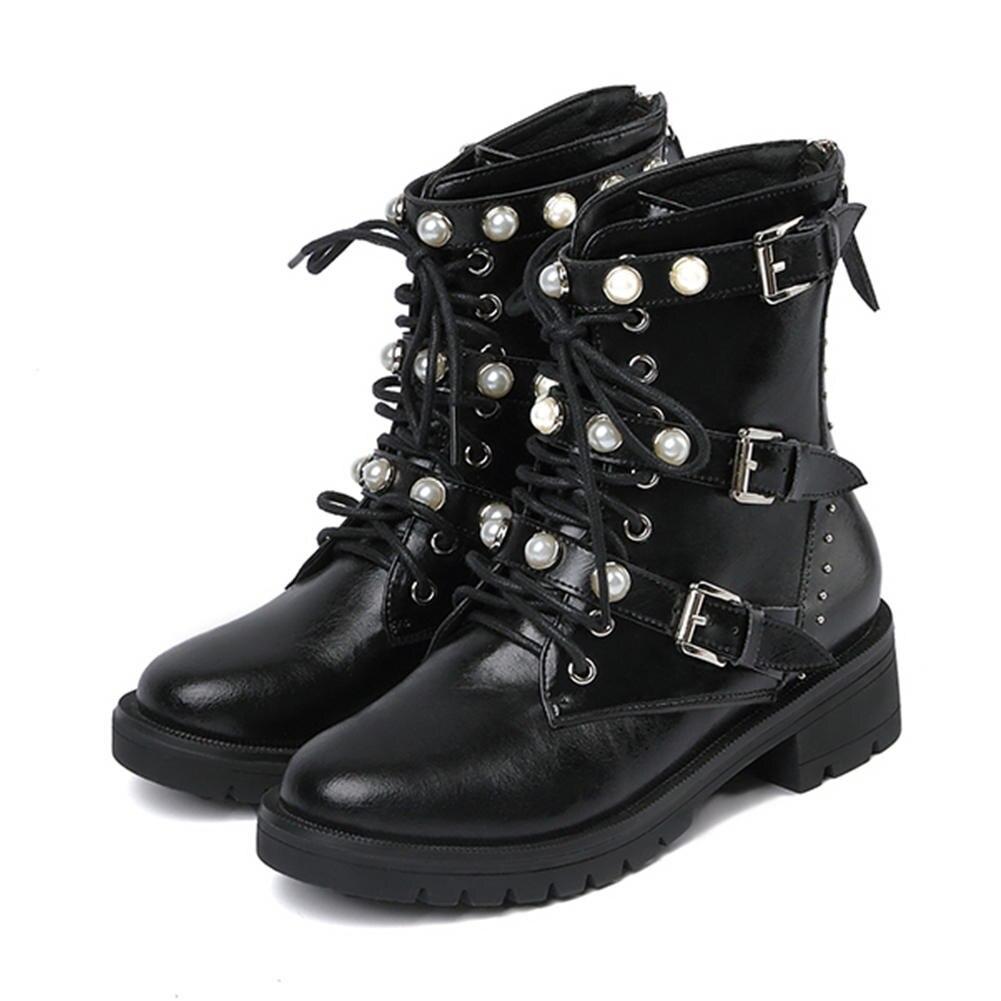 MStacchi nouvelles femmes Rivet bottes en cuir véritable bottes perle femme chaussures boucle décontracté bottes chaussures femme bottines Botas Mujer - 2