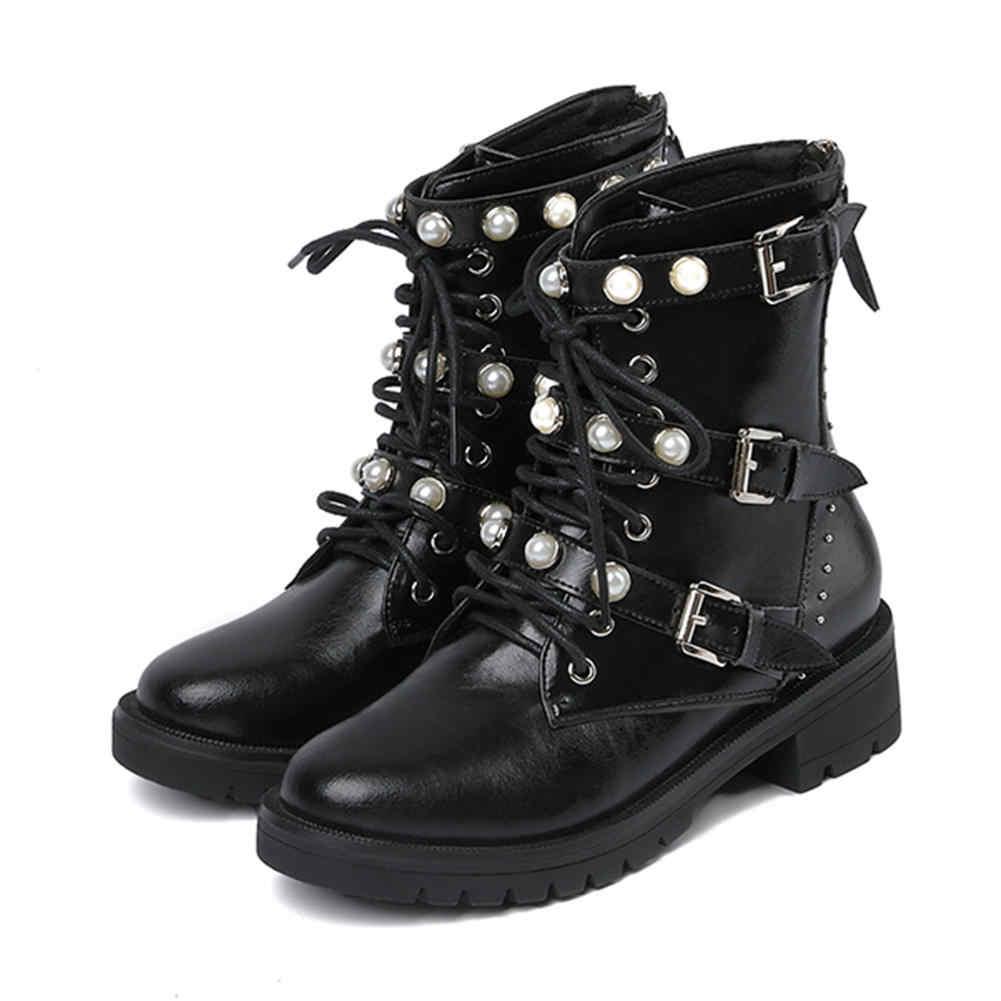 Mstacchi Mới Nữ Đinh Tán Giày Chính Hãng Giày Da Ngọc Trai Người Phụ Nữ Đơn Giản Thoải Khóa Giày Boots Nữ Mắt Cá Chân Giày Botas Mujer