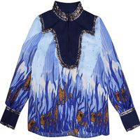 LIENZY 2018 Summer Women Tops And Blouses Long Sleeve Stand Collar Floral Print Sequins Sexy Tops