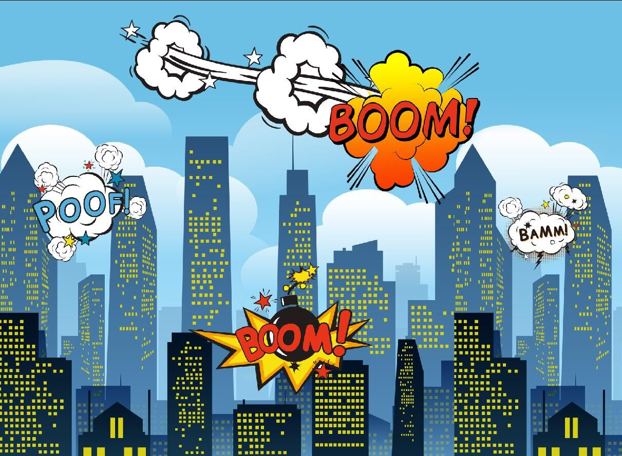 Birthday Party photo backdrop BOOM superman skyscrapers party banner dector background f ...