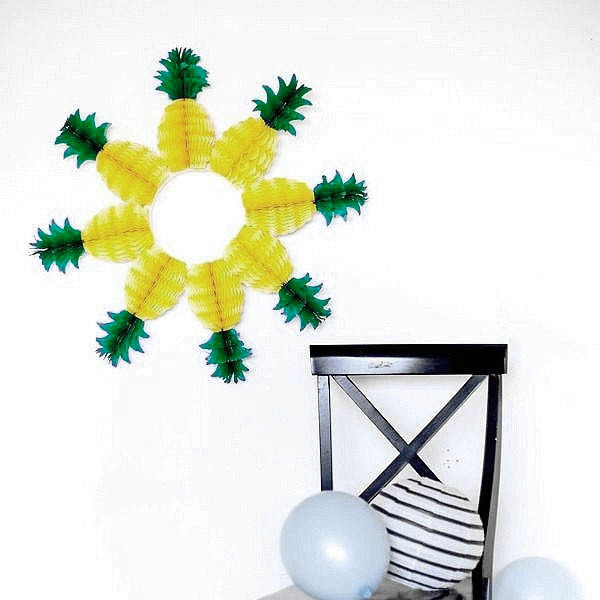 5pcs Pineapple Shape Honeycomb Decoration Fruits Garland Table Centerpiece Honeycomb Paper SUMMER BEACH POOL LUAU PARTY