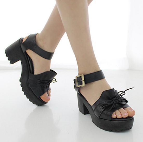 Free shipping bowtie fashion platform sandals 2013 chunky high ...
