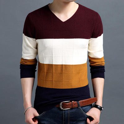 2018 Hot Sale Mens Sweater Patch Design Color Casual Cotton Sweater Casual trend Mens Round-Necked Sweater With Larger Size