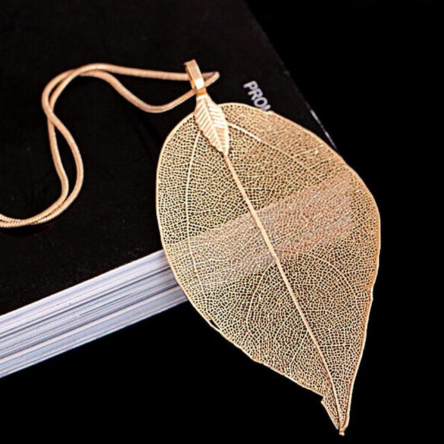 Long Chain Leaves Pendant Necklace 5