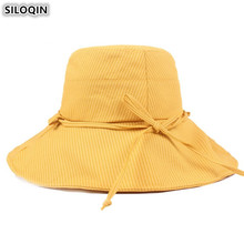 SILOQIN Foldable Elegant Womens Bucket Hats Summer Ladies Fashion Sunhat Korean Style Beach Wind Rope Fixed Female Caps