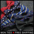 Fashion Men's bow tie men dot strape bowtie male marriage Bowtie For Men candy color cravat tie Butterfly with tracking number