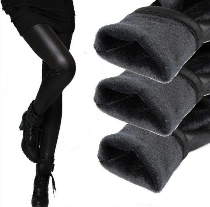 new 2015 thickening black leather boots leggings skinny pants winter warm women s trousers winter pants