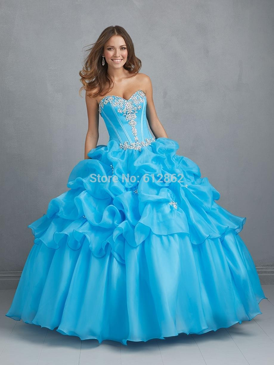 Sweetheart Neckline Lace up Back Ball Gown Organza Blue Princess ...