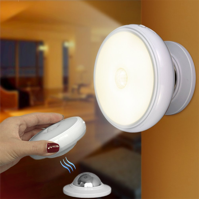 Motion Sensor Night Light 360° Rotating Rechargeable LED Night Lamp Body Motion Sensor Wall Light With Magnet Bedroom Light