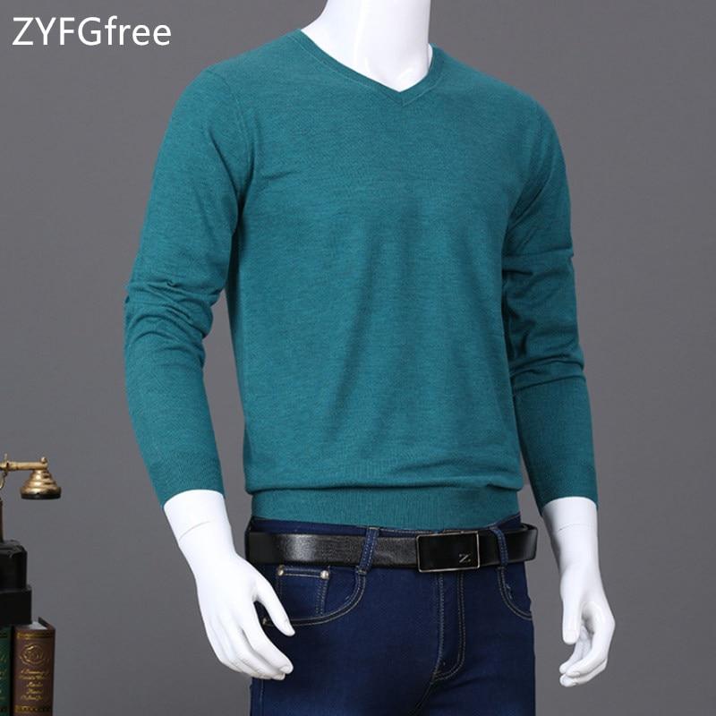 15 Farben Herren Pullover Pullover 2018 Herbst Neue Feste Baumwolle V Neck Pullover Jumper Winter Männlichen Strickwaren Slim Fit Warme Pullover