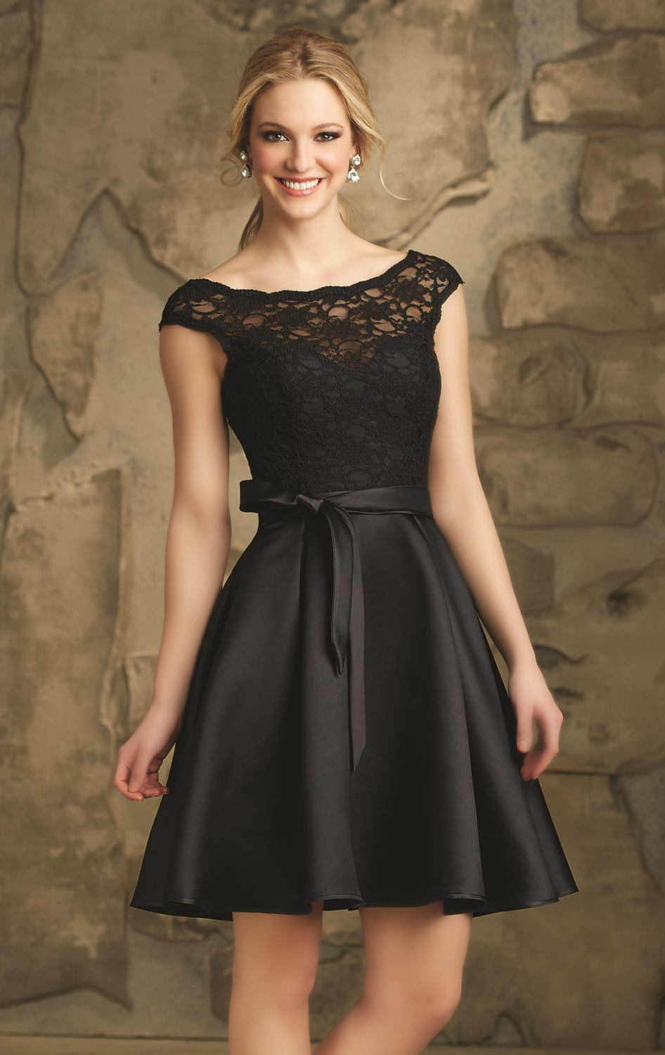 Elegant Satin Lace Cocktail Dresses Cap Sleeve Party