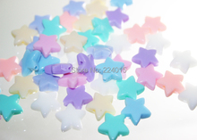 New Arrival! 100pcs/10*10mm Randomly Mixed Jelly Color Acrylic Star Beads For Bead Bracelet Crafts DIY