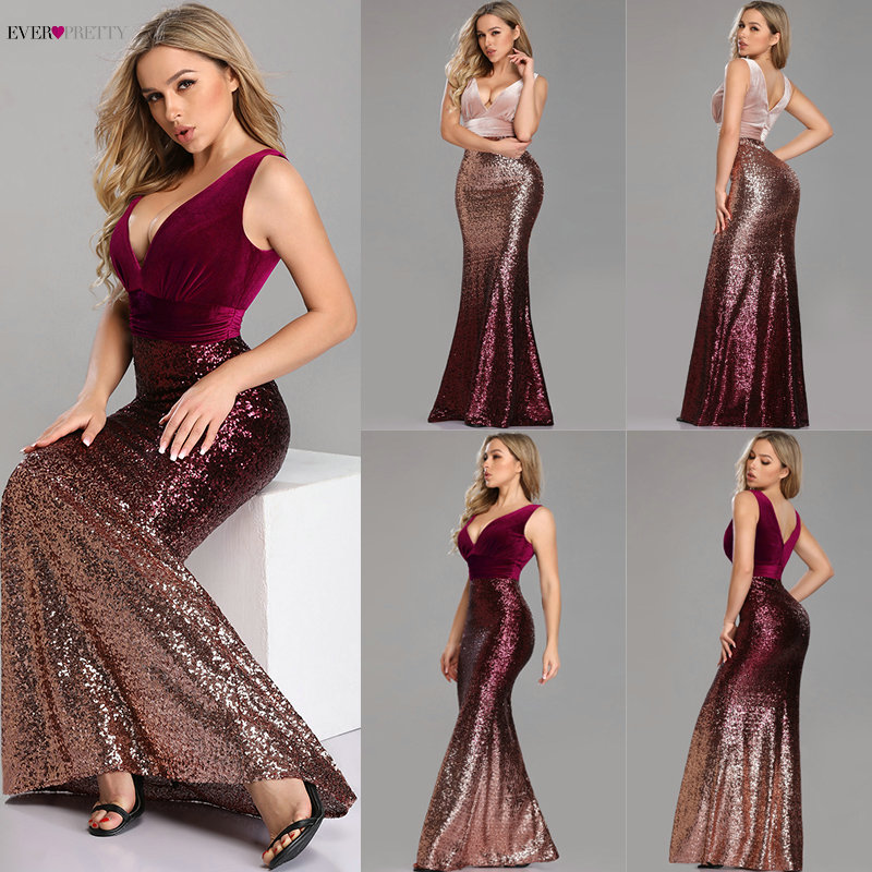 Robe De Soiree Ever Pretty EZ07767 New Sexy V-neck Sleeveless Mermaid Burgundy Long Evening Dresses Elegant Abendkleider 2019