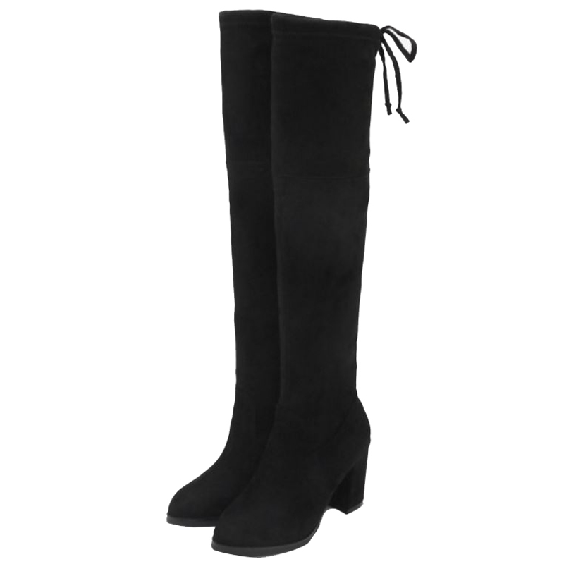 4e8687020 SJJH Women Flock Long Boots with Round Toe Chunky Black Winter Slip-on  Short Plush Over-the-Knee Boots Fashion Casual Shoes A960