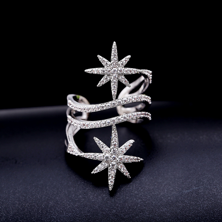 Fashion personality hot bar with the models Shuangmi word star micro zirconia full ring adjustable ring
