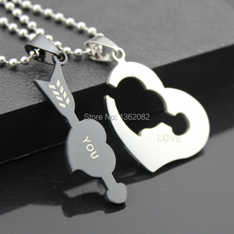 Cupid Arrow Love Heart Lovers Silver Stainless Steel Pendant Couple Necklace Set