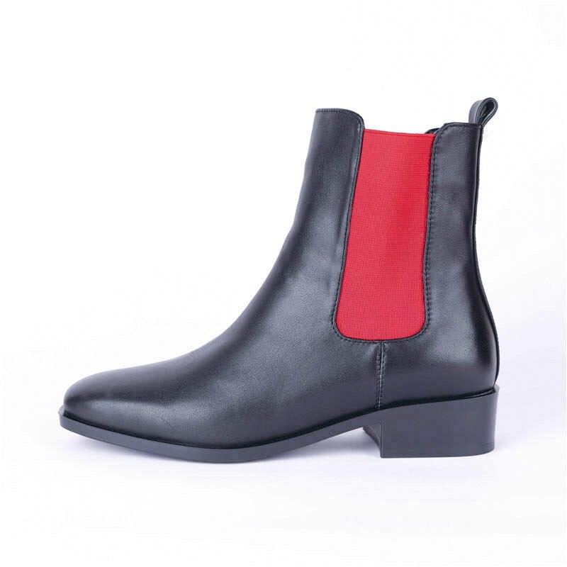 Top Femmes Dames Punk Noir Orteil Cheville Bottes Morazora Automne Mode Red Martin En Hiver Chaussures Véritable Carré black Cuir Qualité Pour 2018 doQBWErxeC