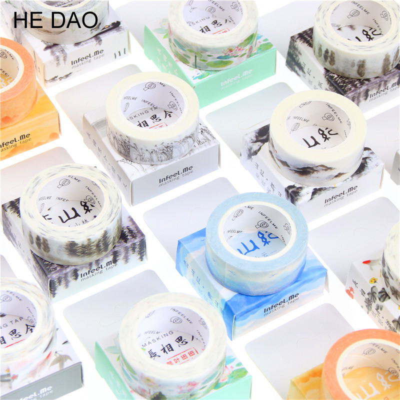 1.5cm Wide Classical Chinese Ink Painting Washi Tape Adhesive Tape DIY Scrapbooking Sticker Label Masking Tape