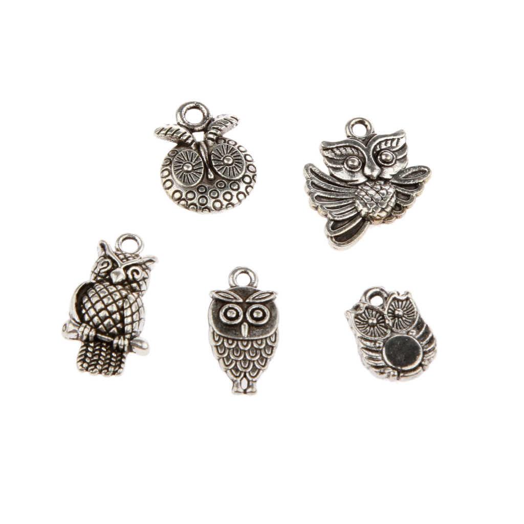 30 peças tibetano prata sortidas coruja forma encantos pingente grânulo diy jóias fazendo descobertas de artesanato