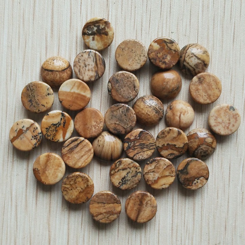 2016 fashion high quality natural picture stone round CAB CABOCHON stone beads for jewelry Accessories 12x12mm wholesale 50pcs