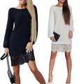Womens Brief Dress Long Sleeve Round collar Lace Splice Bodycon  Party Dress White/burgundy/black/blue For Autumn Winter