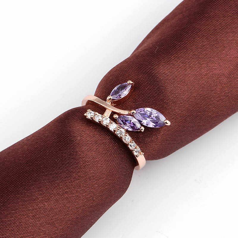 เงิน/Rose Gold สีเต้นรำใบสีเขียวพราว CZ แหวนนิ้วมือสำหรับเครื่องประดับหมั้นผู้หญิง Anel Anillos ของขวัญ