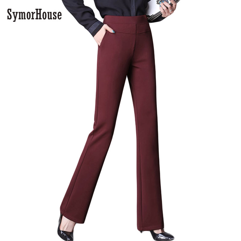 SymorHouse Hot 2019 Office Women Classical Business Suit High Waist Flare Pants Black Wide Leg Stretch Office Ladies Work Pants