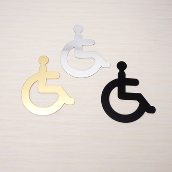 Acrylic Wheelchair Disabled Toilet Mirrored Door Sticker / Wall Sign