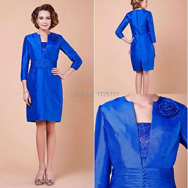 Royal Blue Satin China Cheap Groom Mother Short Wedding Pant Suits ...