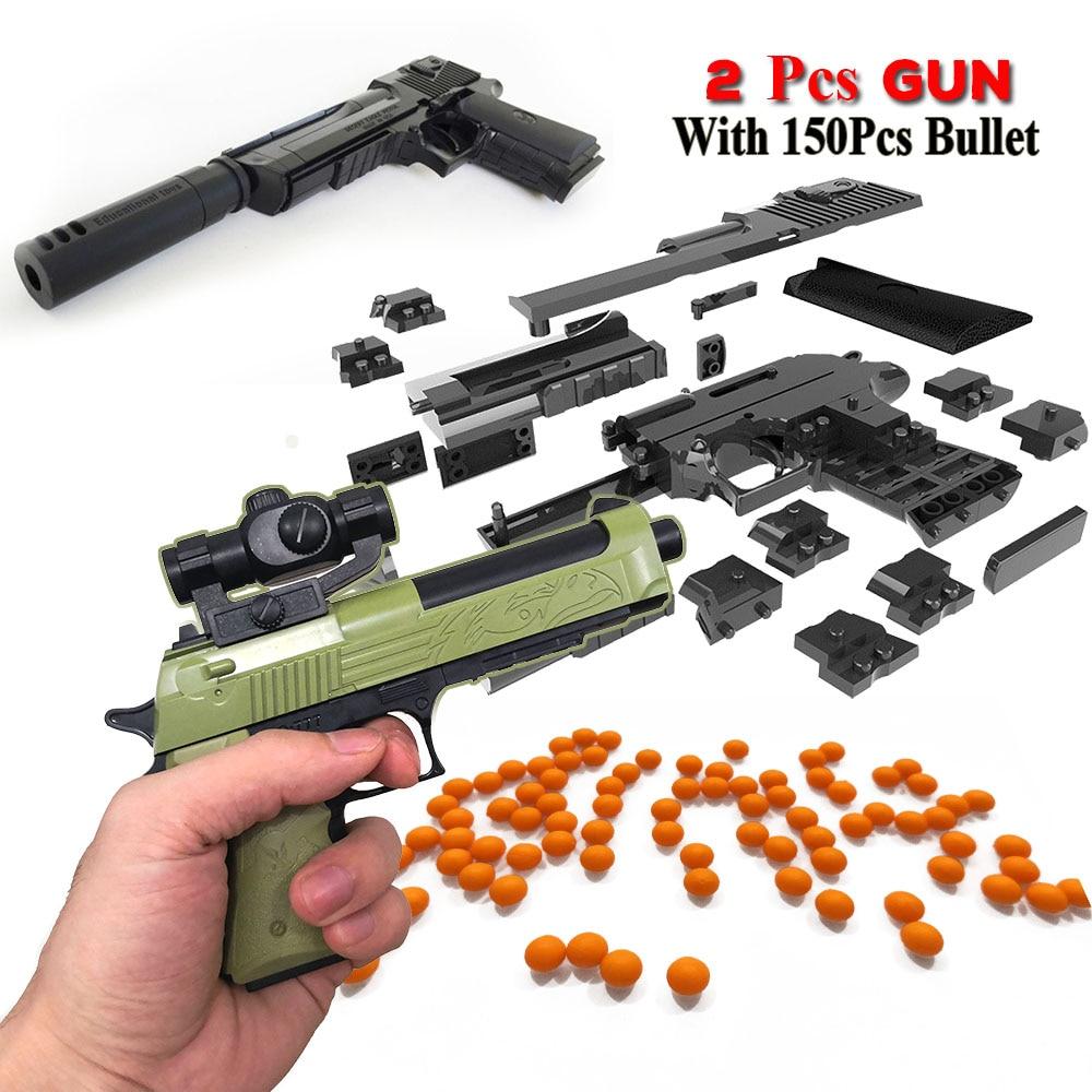 2 set con Proiettile FAI DA TE Blocchi di Costruzione Del Giocattolo Pistola Desert Eagle Modello di Montaggio Del Giocattolo Giocattolo Educativo con il Libro di Istruzioni