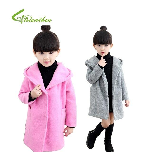 Autumn And Winter Children Woolen Coat Girls Cardigan Collar Windbreaker Outwear Kids Clothing With A Hat 2016 New Sale
